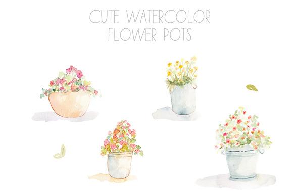 Watercolor Flower Pots