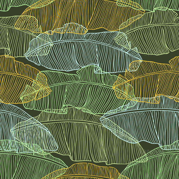 Seamless Patterns With Palm Leaves