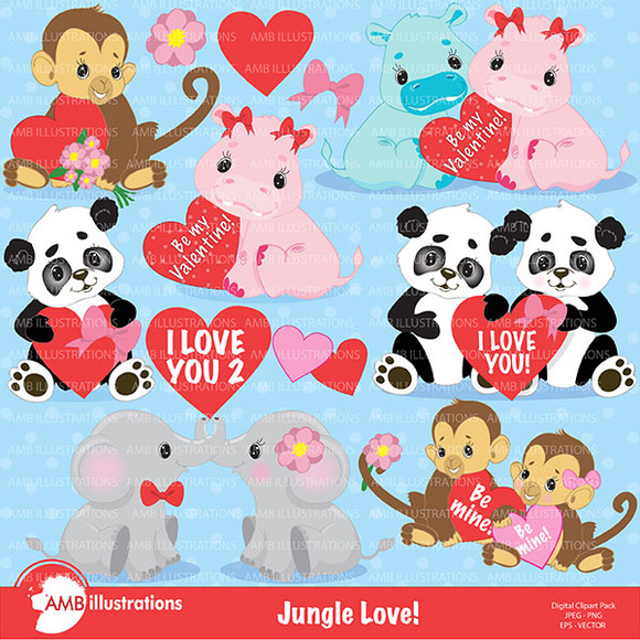 Jungle Love Valentines Clipart 596