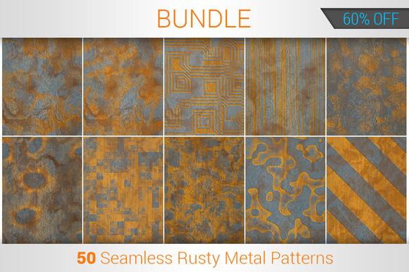 Rusty Metal Seamless Patterns Bundle