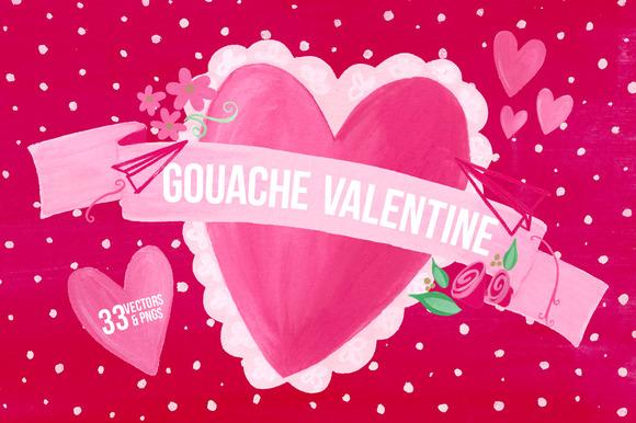 Gouache Valentine Vectors W BONUS