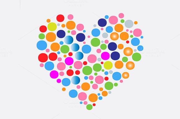 Colorful Bubbles Inside Heart