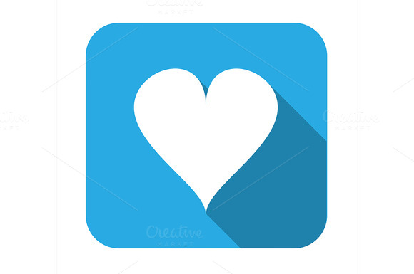 Heart Long Shadow Flat Icon
