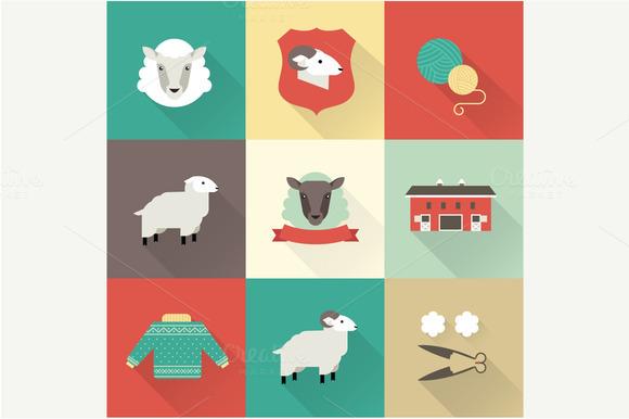Sheep Vector Flat Icons