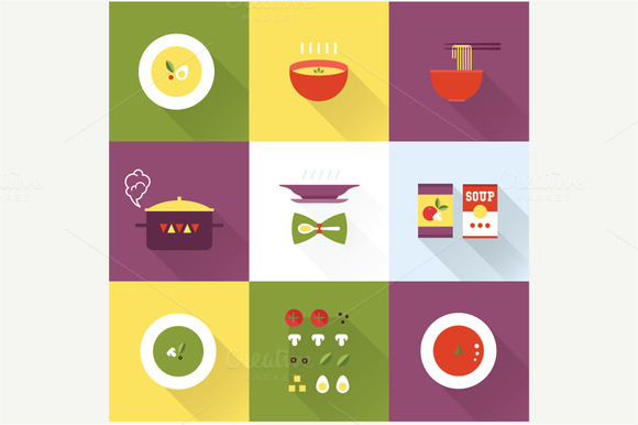Vector Flat Soup Icons