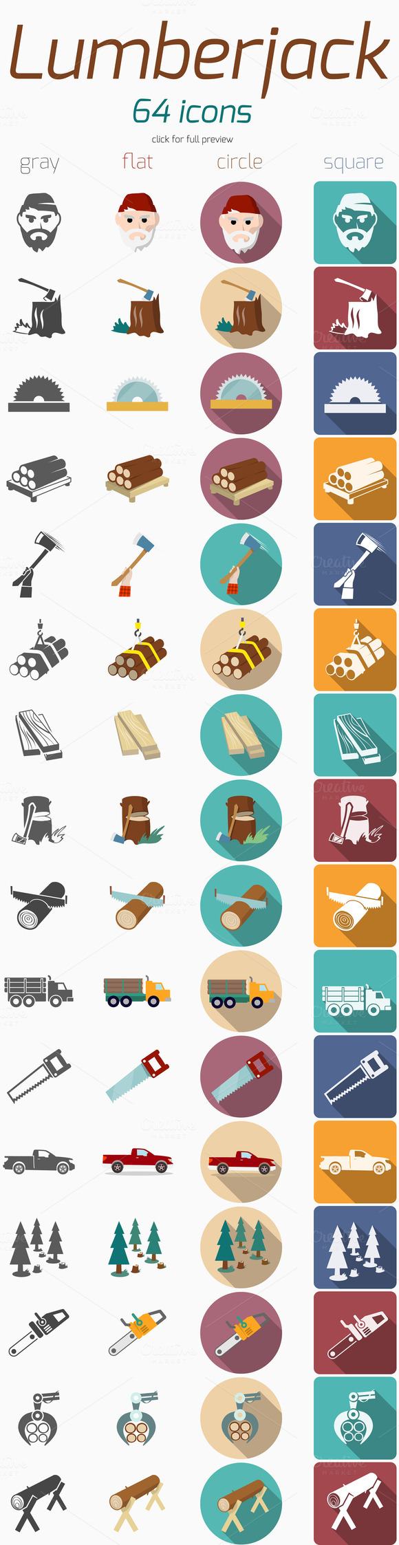 64 Lumberjack Woodcutter Icons