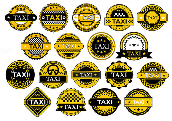 Taxi Labels And Icons In Retro Style