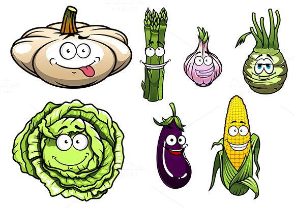 Cartoon Vegetables Set 1