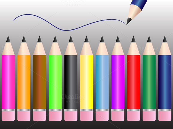 Set Of Pencils Vector Illustration