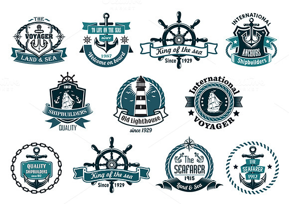 Dark Blue Nautical Labels And Icons