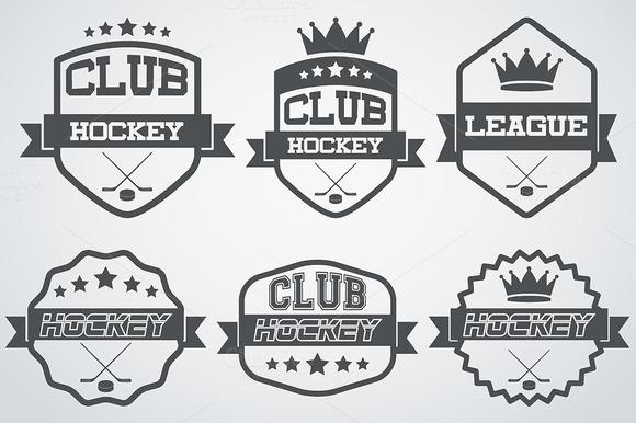 Set Of Ice Hockey Club Labels
