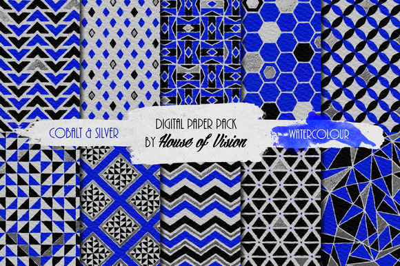 Cobalt Geometric Watercolor Pack