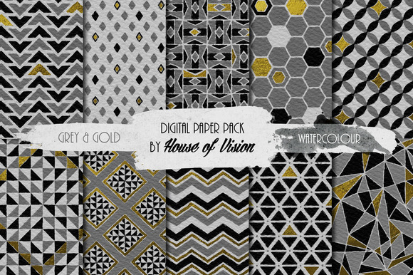Grey Geometric Watercolor Pack