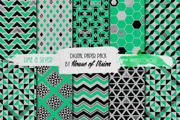Lime Green Geometric Watercolor Pack