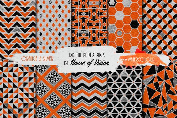 Orange Geometric Watercolor Pack