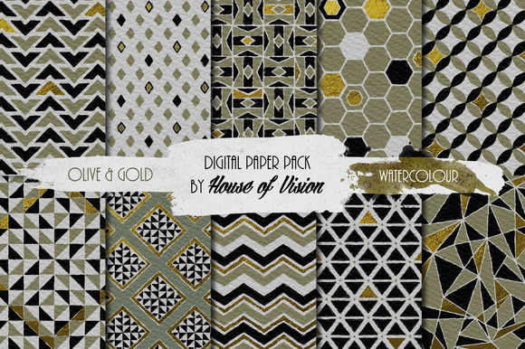 Olive Geometric Watercolor Pack
