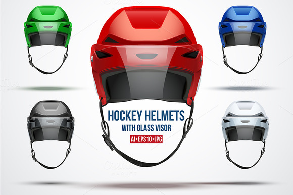 Set Of 5 Classic Ice Hockey Helmets