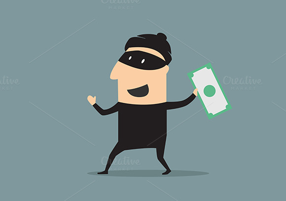 Masked Thief With Money In Cartoon S