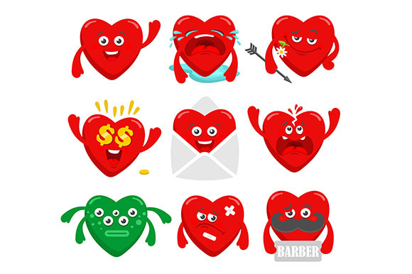 Set Of Funny Heart Characters