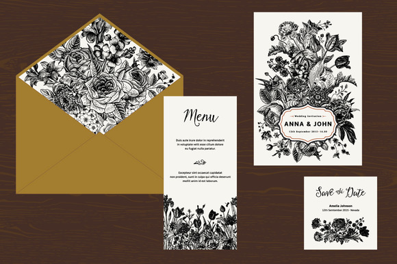 Wedding Set B W Floral Illustration