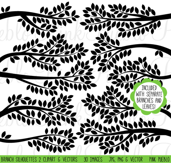Branch Silhouettes Clip Art Vector