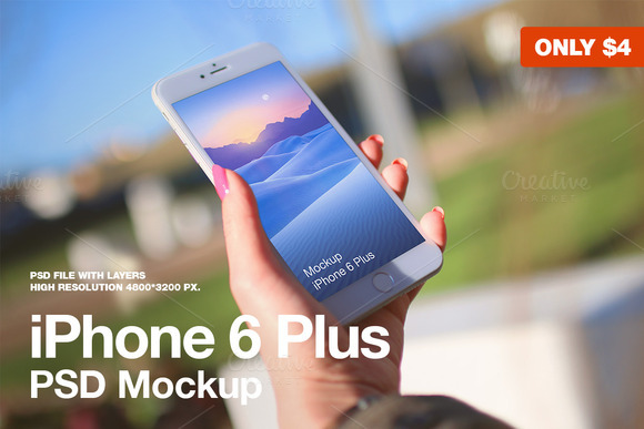 IPhone 6 Plus In Hand PSD Mockup