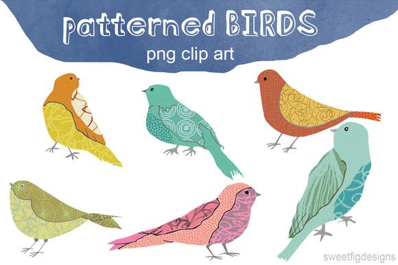 Patterned Birds Clip Art