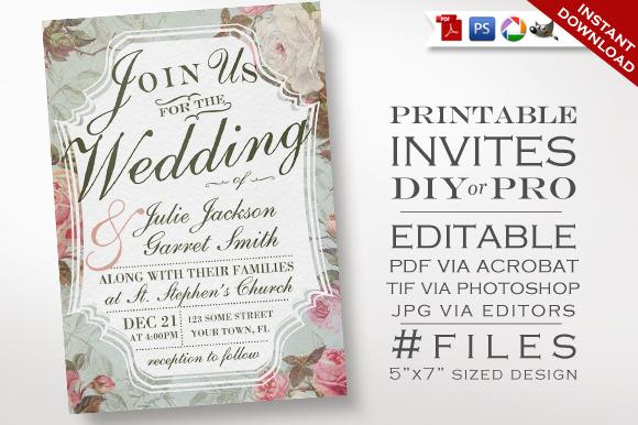 Wedding Invitation Vintage Rose