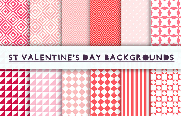 Valentines Day Geometric Backgrounds