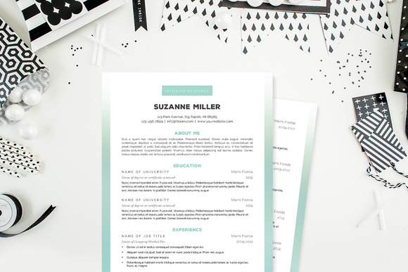 Ombre Simple 2 Pg Resume Template