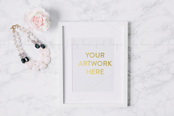 White Frame With Marble Background