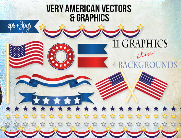 America Flag Banners Graphic Vectors