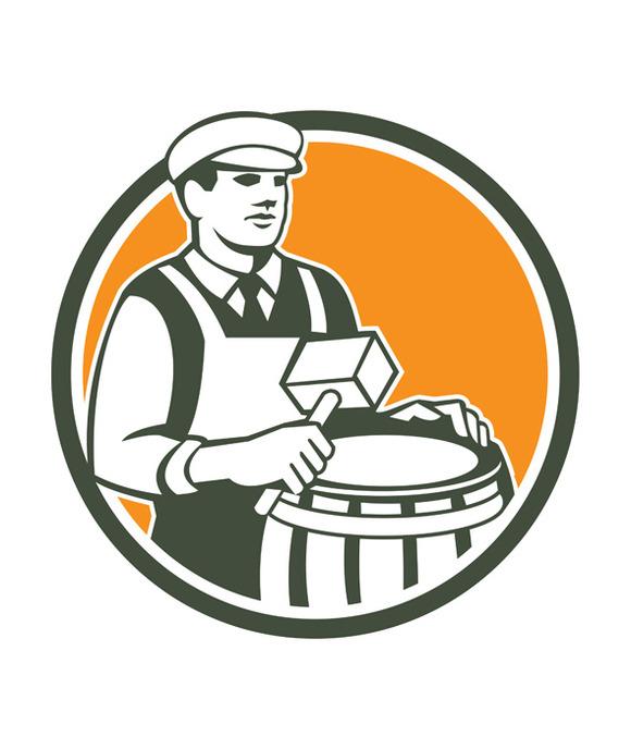 Cooper Barrel Maker Drum Retro Circl