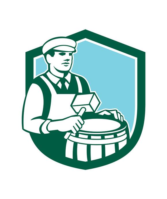 Cooper Barrel Maker Drum Retro Shiel