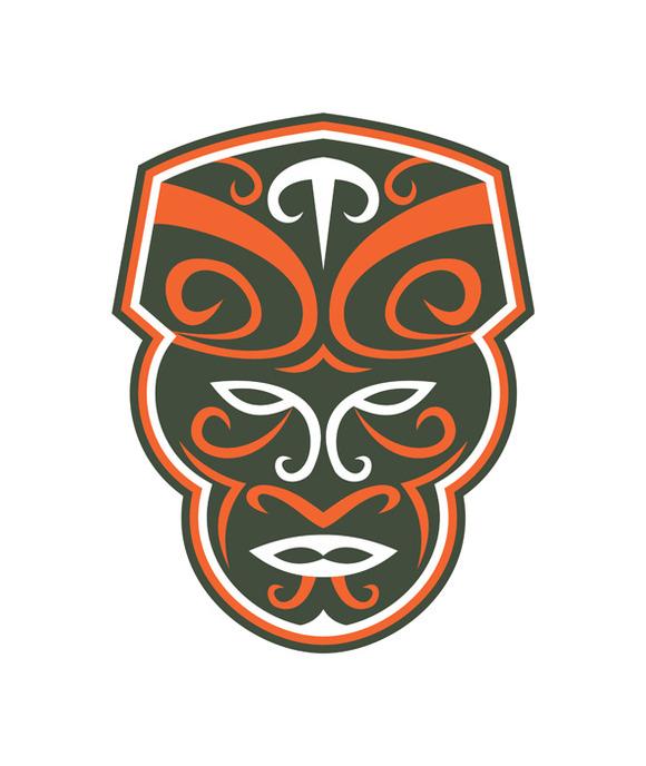 Maori Mask Face Front Retro