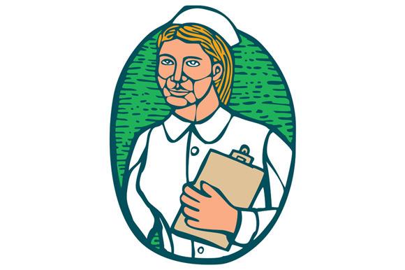 Nurse Holding Clipboard Oval Woodcut