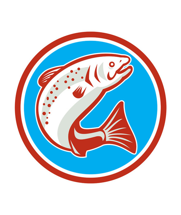 Trout Fish Jumping Circle Retro