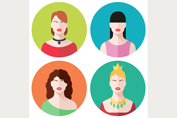 Female Faces Flat Icons Set