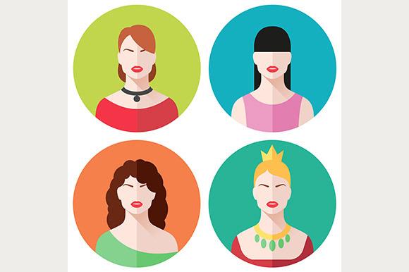 Female Faces Flat Icons Set