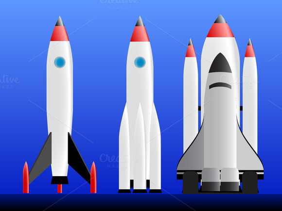 Set Of Rockets Vector Illustration