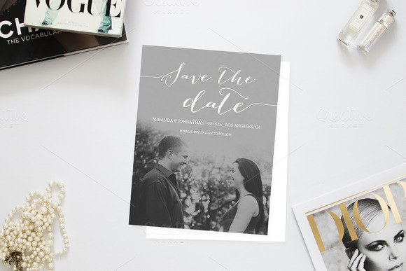 Cursive Love Photo Save The Date
