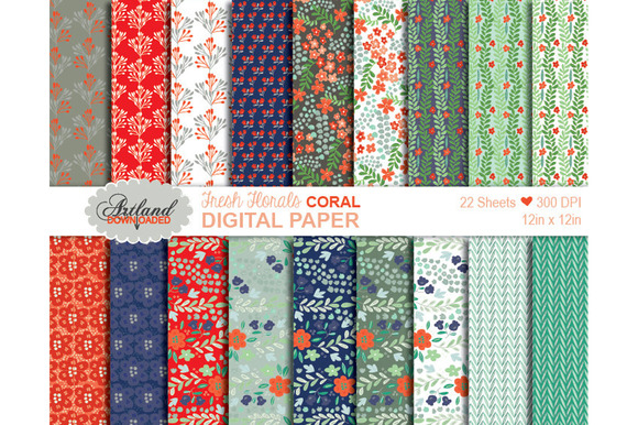 Fresh Florals Digital Paper Coral