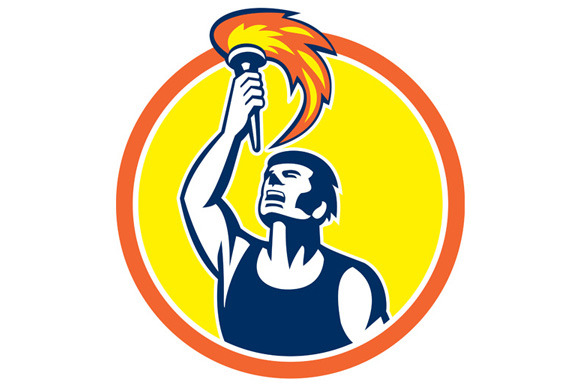 Athlete Player Raising Flaming Torch