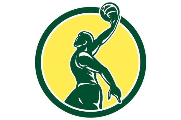 Basketball Player Dunk Ball Circle R