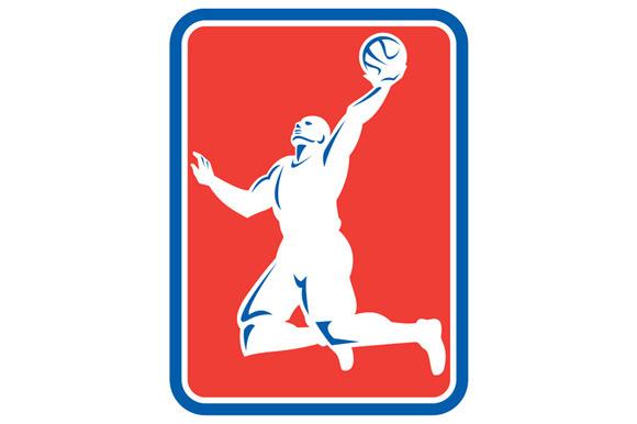 Basketball Player Rebounding Lay-Up