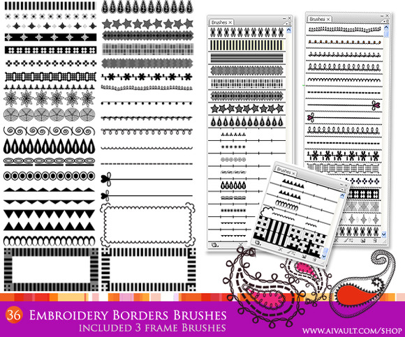 Embroidery Borders Vector Brushes