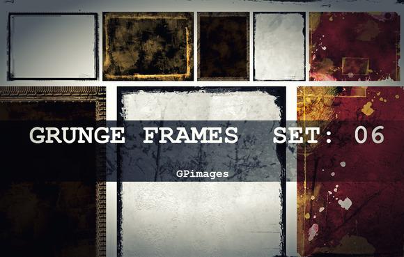 5 Grunge Textured Retro Style Frames