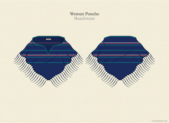 Women Poncho Vector Template