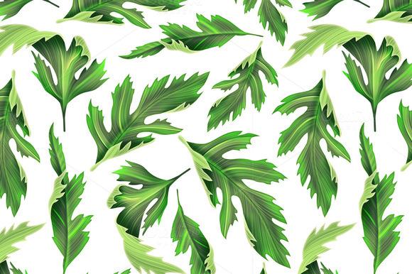 Tropical Leaves Seamless Stylish Fa