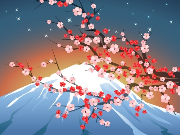 Landscape With Sakura And Fuji